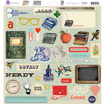 Prima - School Memories Collection - 12 x 12 Self Adhesive Chipboard Pieces