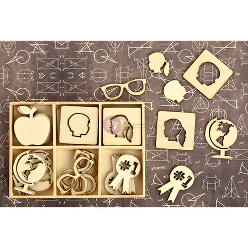Prima - School Memories Collection - Wood Icons in a Box