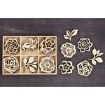 Prima - Wood Icons in a Box - Flowers and Leaves - 1
