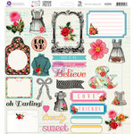 Prima - Anna Marie Collection - 12 x 12 Self Adhesive Chipboard Pieces