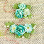 Prima - Winthrop Collection - Flower Embellishments - Turquoise