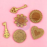 Prima - Wood Icons with Gold Foil Accents - Keys and Doilies