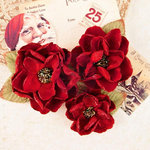 Prima - A Victorian Christmas Collection - Flower Embellishments - Peace and Holly