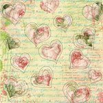 Prima - Sew Cute Collection - 12 x 12 Embroidered Paper - Hearts