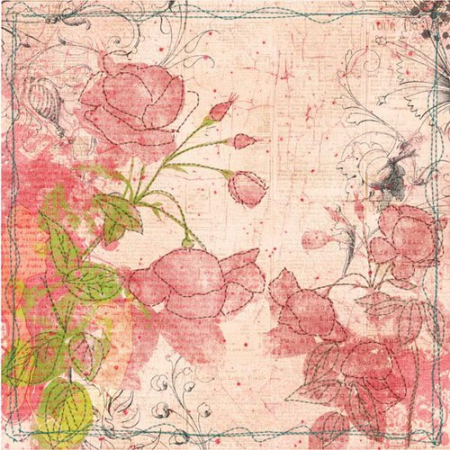 Prima - Sew Cute Collection - 12 x 12 Embroidered Paper - Full Bloom