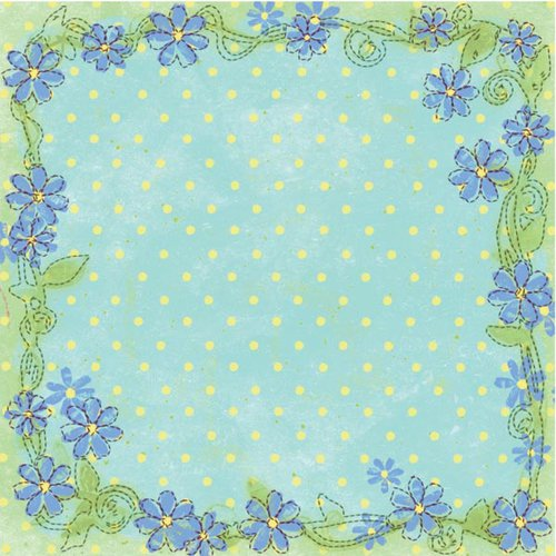 Prima - Sew Cute Collection - 12 x 12 Embroidered Paper - Isabella, CLEARANCE