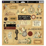 Prima - Time Travelers Memories Collection - 12 x 12 Self Adhesive Chipboard Pieces