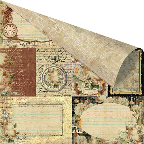 Prima - Time Travelers Memories Collection - 12 x 12 Double Sided Paper - Love Affair