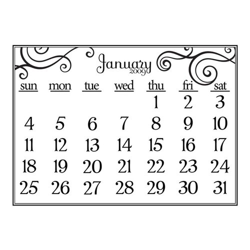 Prima - Clear Acrylic Stamp - 2009 Calendar - January, CLEARANCE