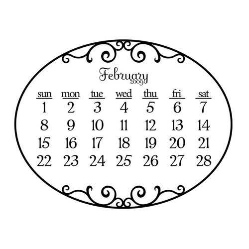 Prima - Clear Acrylic Stamp - 2009 Calendar - February, CLEARANCE