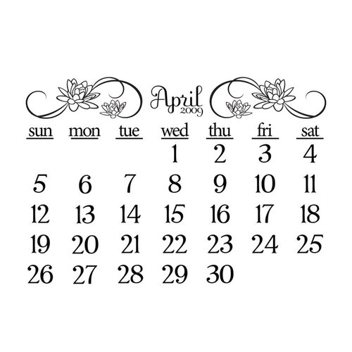 Prima - Clear Acrylic Stamp - 2009 Calendar - April, CLEARANCE