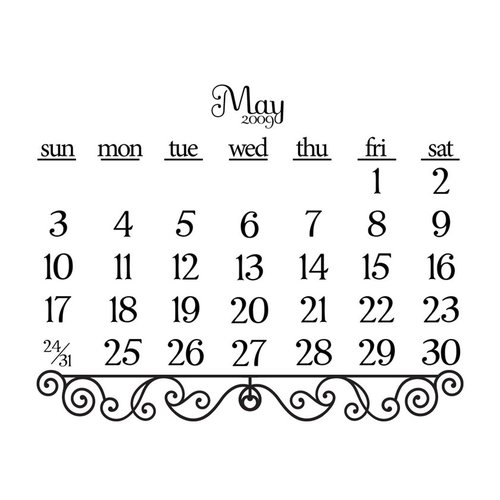 Prima - Clear Acrylic Stamp - 2009 Calendar - May