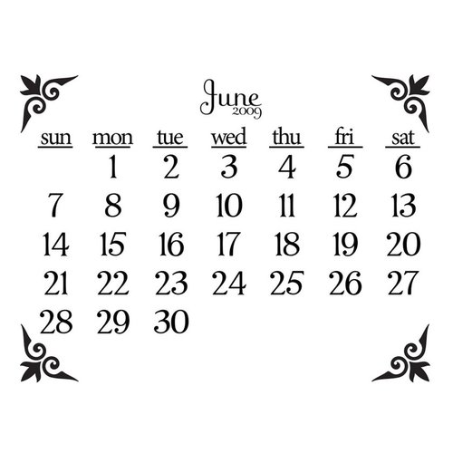 Prima - Clear Acrylic Stamp - 2009 Calendar - June, CLEARANCE