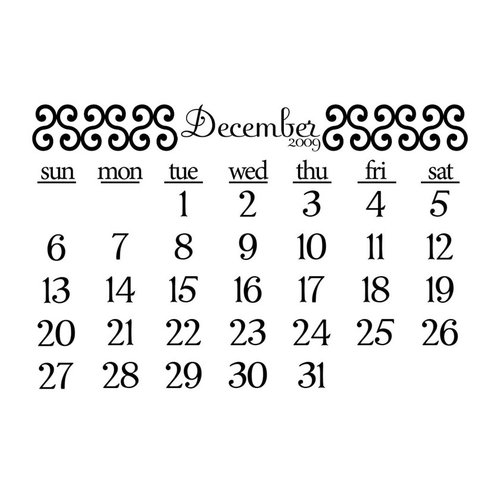 Prima - Clear Acrylic Stamp - 2009 Calendar - December, CLEARANCE