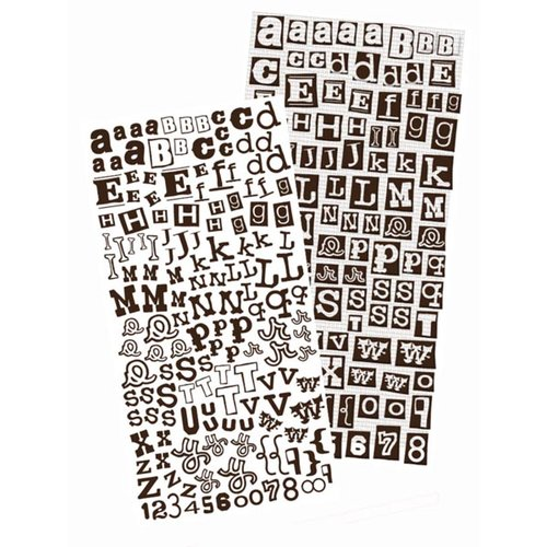 Prima - Alphablends - Stickers and Adhesive Chipboard - Alphabet - Black with Black