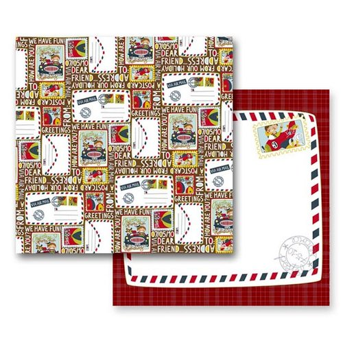 Prima - Road Trip Collection - 12 x 12 Double Sided Paper - Postcards