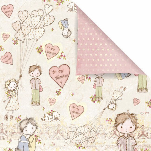 Prima - Celebrate Jack and Jill Collection - 12 x 12 Double Sided Paper - Sweet Valentine