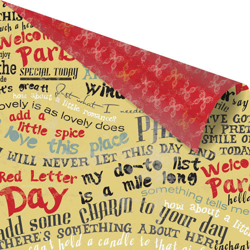 Prima - Welcome to Paris Collection - 12 x 12 Double Sided Paper - Red Letter Day
