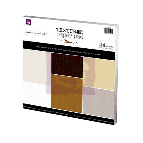 Prima - 12 x 12 Paper Pad - Linen Texture - Basic