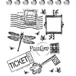 Prima - Clear Acrylic Stamps and Self Adhesive Jewels - Ticket