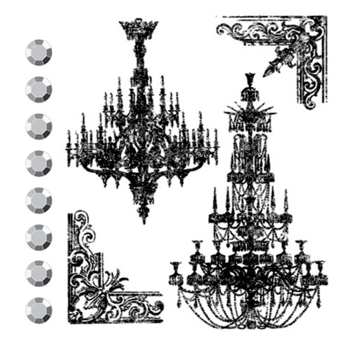 Prima - Clear Acrylic Stamps and Self Adhesive Jewels - Chandeliers