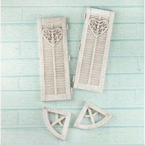 Prima - Architecture Collection - Resin Embellishments - Large Window Shutters