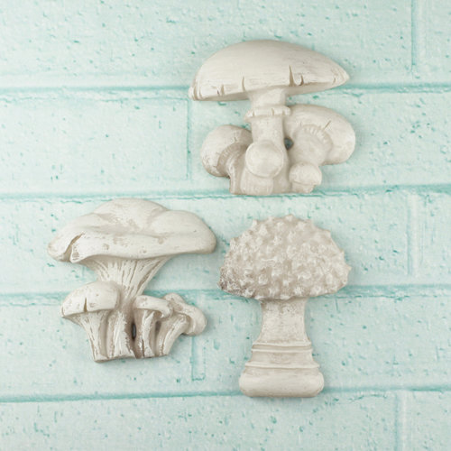 Prima - Shabby Chic Collection - Resin Treasure Embellishments - Mushrooms