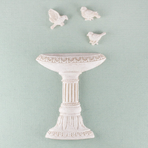 Prima - Shabby Chic Collection - Resin Treasure Embellishments - Bird Bath
