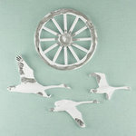 Prima - Shabby Chic Collection - Metal Treasure Embellishments - Old Wagon Wheels