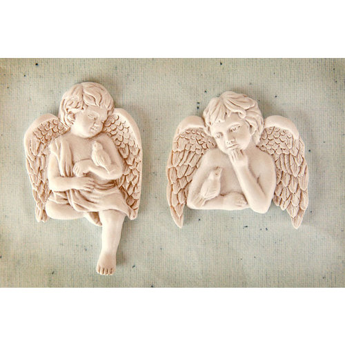 Prima - Resin Collection - Ingvild Bolme - Resin Embellishments - Cherub with Bird