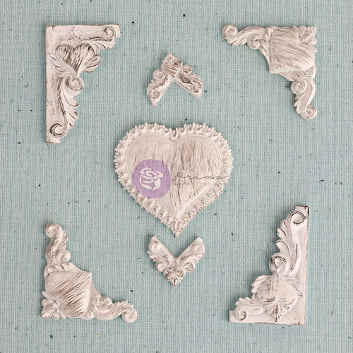 Prima - Shabby Chic Treasures Collection - Ingvild Bolme - Resin Embellishments - Heart