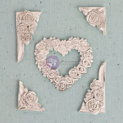 Prima - Shabby Chic Treasures Collection - Ingvild Bolme - Resin Embellishments - Flower Heart