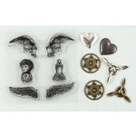 Prima - Ingvild Bolme - Stamp-N-Add - Acrylic Stamps and Metal Embellishments Set - Angel Wings