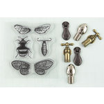 Prima - Ingvild Bolme - Stamp-N-Add - Acrylic Stamps and Metal Embellishments Set - Moth Wings