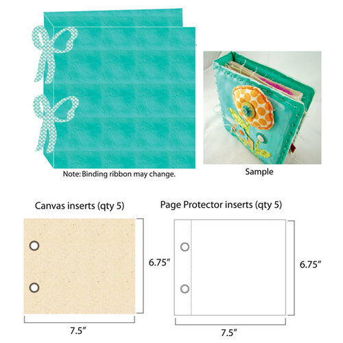 Prima - Donna Downey Collection - Customizable Imitation Leather Album - 8 x 8 - Teal