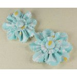 Prima - Donna Downey Collection - Screenprinted Canvas Flowers - Blue, CLEARANCE