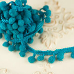 Prima - Cabachon Collection - Donna Downey Collection - Pom Pom Trim - Teal - 30 Yards, BRAND NEW