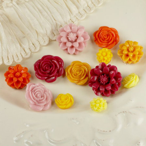 Prima - Cabachon Collection - Donna Downey - Sculpture Resin Flowers - Mix 3