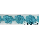 Prima - Donna Downey Collection - Rose Trim - Aqua - 5 Yards