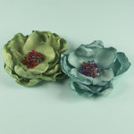 Prima - Elle Collection - Donna Downey - Flower Embellishments - Sage Blue