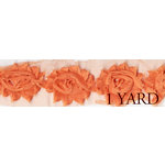 Prima - Donna Downey Collection - Rose Trim - Orange - 1 Yard