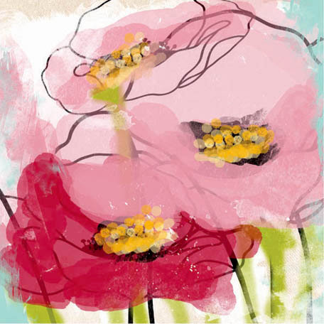 Prima - Poppies and Peonies Collection - Donna Downey - 12 x 12 Screenprinted Canvas Paper - Poppy 2