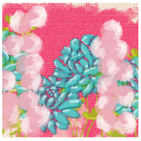 Prima - Poppies and Peonies Collection - Donna Downey - 12 x 12 Screenprinted Canvas Paper - Floral