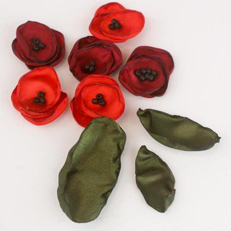 Prima - Poppies and Peonies Collection - Donna Downey - Flower Embellishments - Poppy - Mix 2