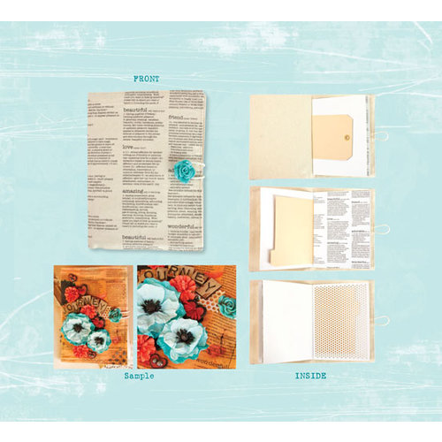 Prima - Poppies and Peonies Collection - Donna Downey - Mixed Media Album - Script