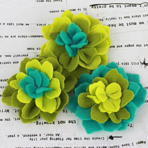 Prima - Poppies and Peonies Collection - Donna Downey - Felt Flower Embellishments - Green