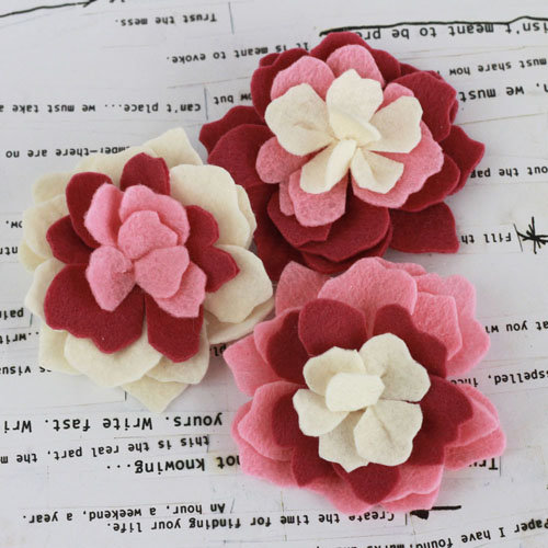 Prima - Poppies and Peonies Collection - Donna Downey - Felt Flower Embellishments - Pink