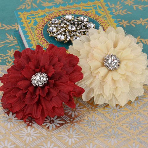 Prima - Poppies and Peonies Collection - Donna Downey - Flower Embellishments - Red and Cream