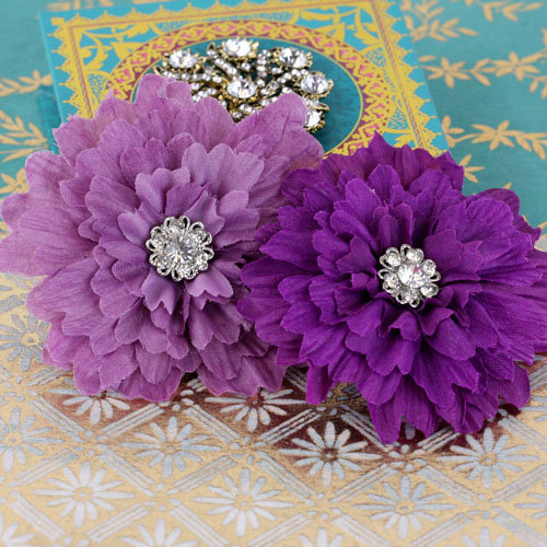 Prima - Poppies and Peonies Collection - Donna Downey - Flower Embellishments - Purple