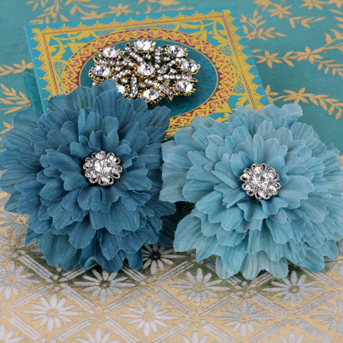Prima - Poppies and Peonies Collection - Donna Downey - Flower Embellishments - Blue
